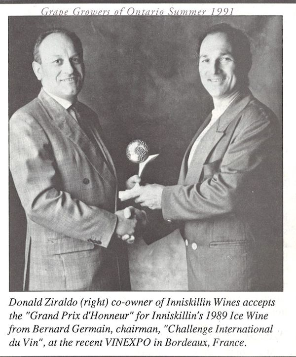 Ontario Icewine strikes gold at Vinexpo in Bordeaux, France. 1991.