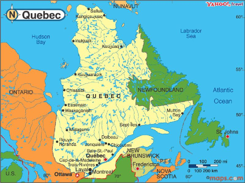 Map Of Quebec Province Canada The province of Quebec, Canada